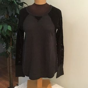 ⭐️. Lucky Brand dk gray/black lace sleeve ribbed